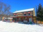 The General Store is across the street.  Open year round.  Fresh produce, gas and take out food.