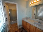 Master bathroom. Pine Mountain Lake Vacation Rental, Unit 4 Lot 67 The Buck Stops Here