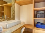 Bathroom with safe deposit box