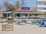 Le Papillon beach bar and restaurant just 100metres from the apartment