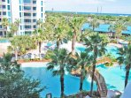 Beautiful view of the lagoon pool and gulf of Mexico from the balcony