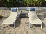 Top terrace, 2 of 8 lounge chairs for sunbathing (topless area)