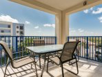 Private balcony off living area and kitchen. Great place to enjoy your morning coffee.