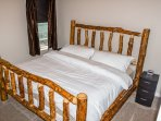 Bedroom #3, Queen, Upstairs, made from AK black spruce trees