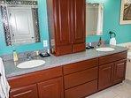 Master bedroom double sinks.  Upstairs