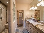 Large Master Bathroom With Dual Sinks & Walk In Shower