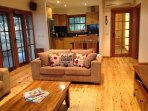 Cosy living room and open plan kitchen