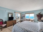King size bed, flat screen cable TV, Gulf view and door to balcony, and private bathroom