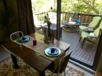 Enjoy the sights and sounds of the Ozarks while eating and over looking the deck!