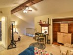The loft area acts as a second bedroom with sleeping accommodations for 2 extra guests.