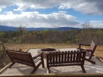 Fire pit area, excellent view of the Blue Ridge Mountains! Right beside cabin!