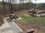 picnic area, and fire pit beside cabin!