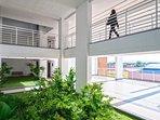 Open courtyard for cooler air