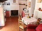 Traditional Spanish kitchen with woodburner.