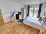 Delightful, spacious bedroom with Juliet balcony overlooking the river