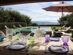 The pool house with BBQ overlooking the Luberon valley.