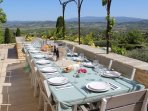 Outdoor terrace dining for the whole group