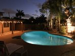 The pool has multicoloured LED lights that dazzle you with their changing colours at night.