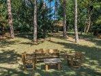 Le salon sous la pinède et la cabane dans les arbres