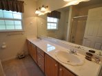 Guest bathroom, Unit 13 Lot 142 Pine Mountain Lake vacation rental Star Of The Mountain.