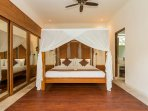 Air conditioned master bedroom 1 with king sized bed.
