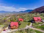 Aerial view of the Carpathian Log Home resort.