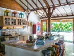 Well equipped island kitchen , the heart of the villa