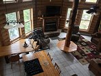 From loft looking down to Great Room & open kitchen/dining