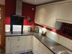 Our kitchen fitted with LED lights. All knives, pots and pans you would expect are fitted.