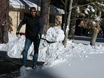 Clean up after late night snow....What fun + Beautiful too!