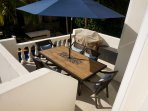 Terrace with dining set and BBQ. Also access to roof terrace