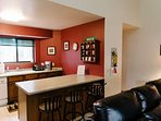 Gather around the breakfast bar before heading to the Wisconsin Dells attractions.