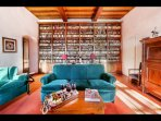 Drawing room with collection of old Chianti Classico vintages