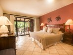Master bedroom, king bed, full bathroom, ocean view, access to terrace and garden area
