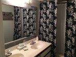 Double sink vanity in bathroom!