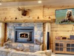 Living Room with wood-burning fireplace and HD TV