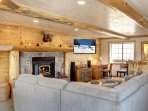 The Family Room has an HD TV and a Wood-Burning Fireplace