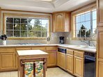 Fully Stocked Kitchen has Views of the Lake