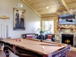 Pool table w/ Fireplace and TV