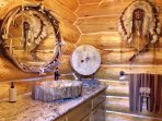 Petrified wood sinks in many bathrooms