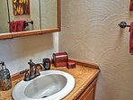 This half bath allows guests to easily freshen up after a long day outdoors.