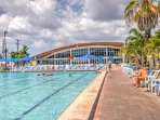 The resort amenities include indoor and outdoor swimming pools.