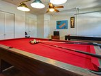 Fully air conditioned games room with a full size slate pool table, air hockey and Nintendo Wii