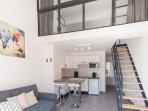 Duplex avec chambre à l'étage et convertible dans le salon