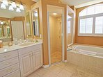 Master Bathroom with Lage Tub and Walk In Shower