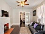Living room contains a futon sofa