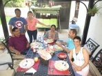Our guests from India, are enjoying breakfast underneath the gazebo ;-).