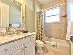 Guest Bathroom in Between Queen and Twin Rooms; Tub/Shower!