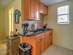 The fully equipped kitchenette has everything you'll need to prepare tasty snacks.