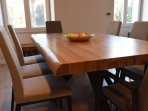8 person large oak wood dining table